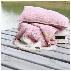 "Lininis pledas ""Linen pink comfort"""