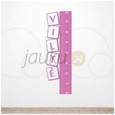 """Lipdukas ant sienos ūgiui matuoti su vardu """"Kvadratas"""" (rožinis)"""