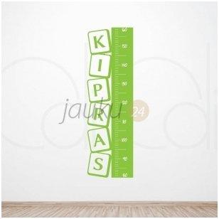 """Lipdukas ant sienos ūgiui matuoti su vardu """"Kvadratas"""" (žalias)"""