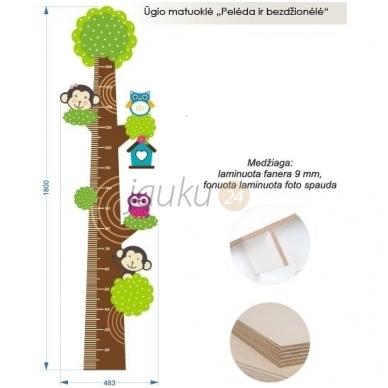 """Medinė ūgio matuoklė """"Pelėdžiukai ir beždžionėlės"""" 2"""