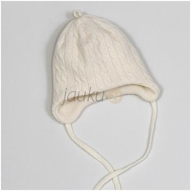 Šilta, dviejų sluoksnių merino vilnos kepurė kūdikiui