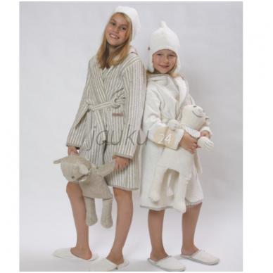 """Vaikiškas minkštinto lino chalatas """"Happy Kids white"""" 2"""